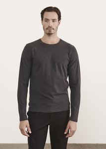 PATRICK ASSARAF ICONIC PIMA COTTON STRETCH LONG SLEEVE - Charcoal
