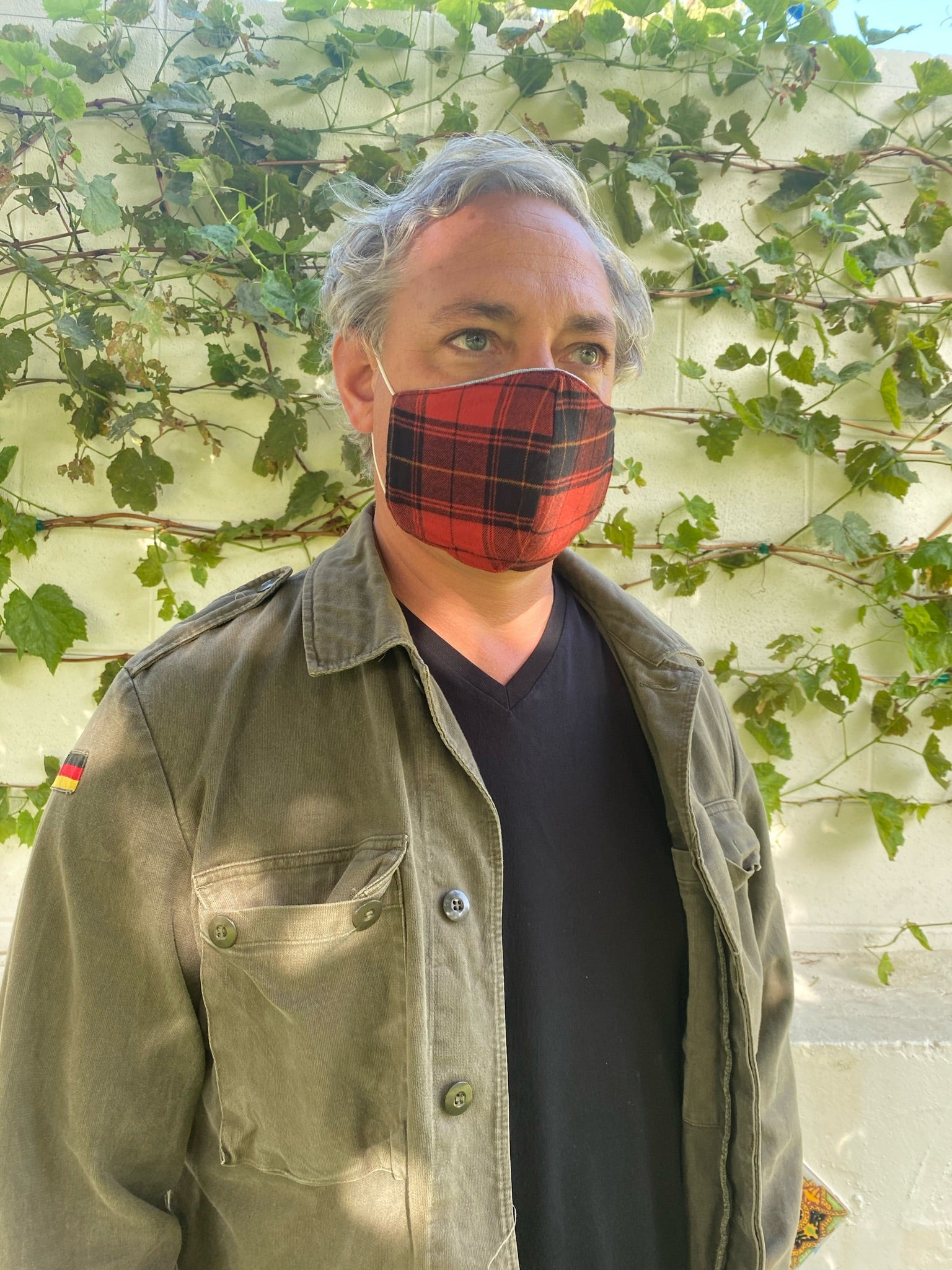Jo Reversible Denim/Organic Tartan Mask