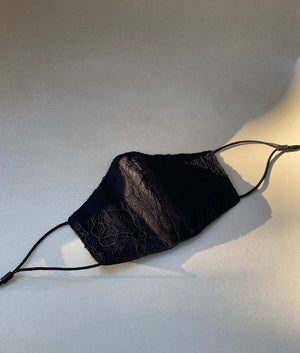 Open image in slideshow, Black French Leavers Lace Mask