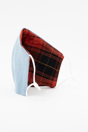 Open image in slideshow, Jo Reversible Denim/Organic Tartan Mask