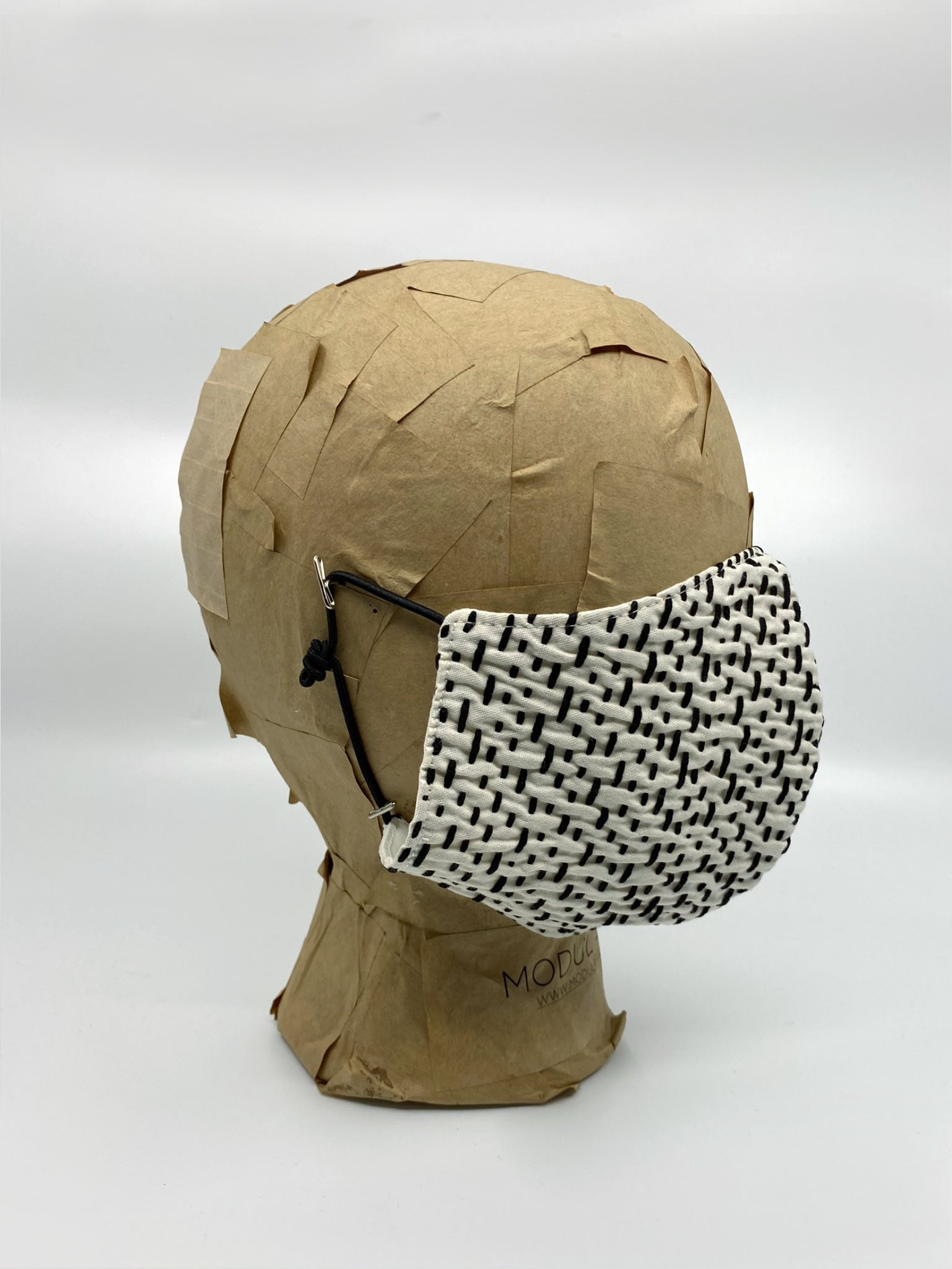 White Jacquard & Black Stitching Cotton Mask