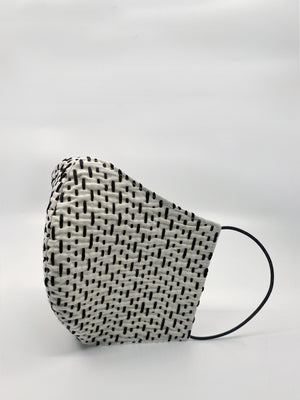 Open image in slideshow, White Jacquard & Black Stitching Cotton Mask