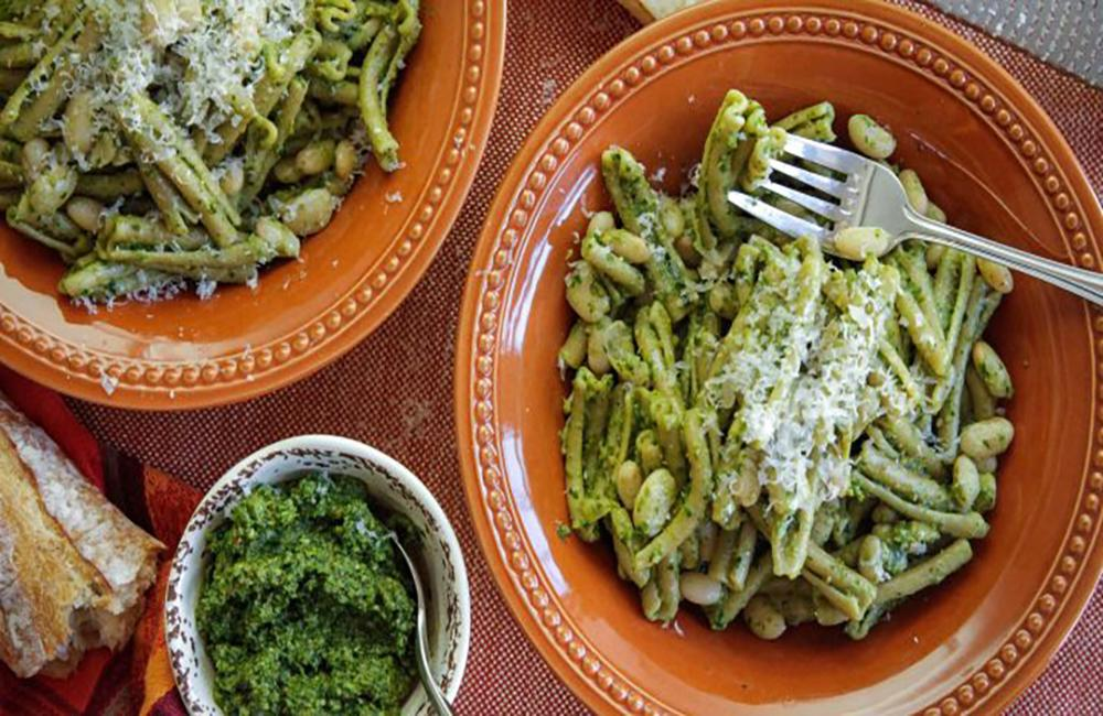 White Bean Pesto Pasta Served