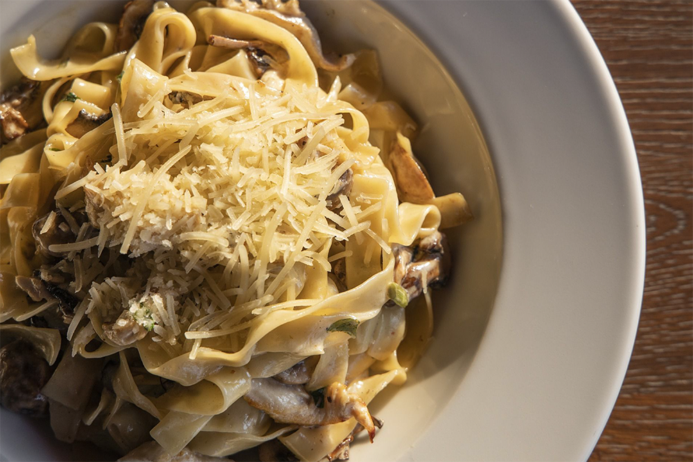 plate of pasta with mushrooms