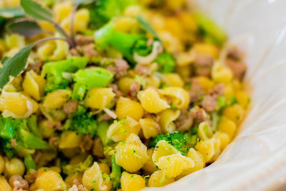 Shell Pasta with Broccoli and Sausage