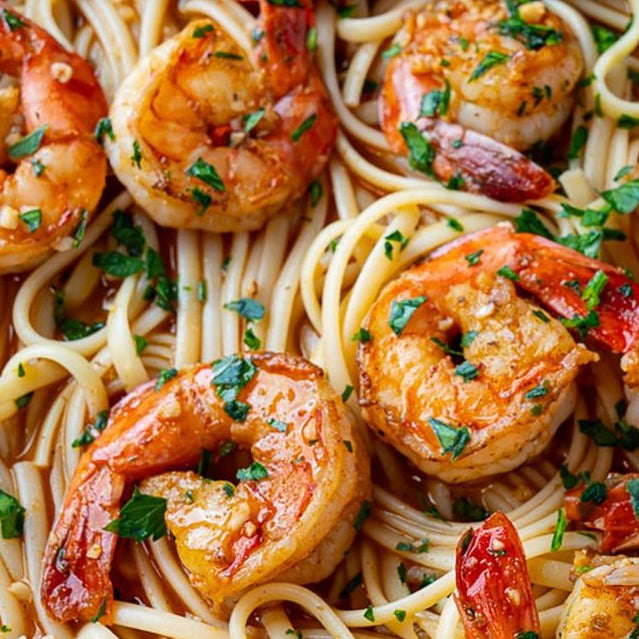 Dagostino Linguine Pasta with Cajun BBQ Shrimp Scampi