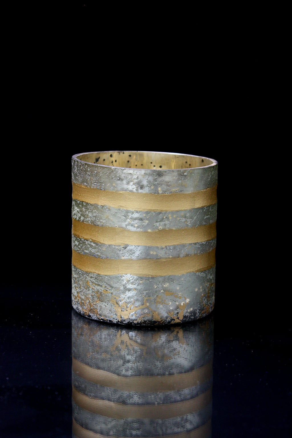 Small Silver & Gold Mercury Votive Candle Holder