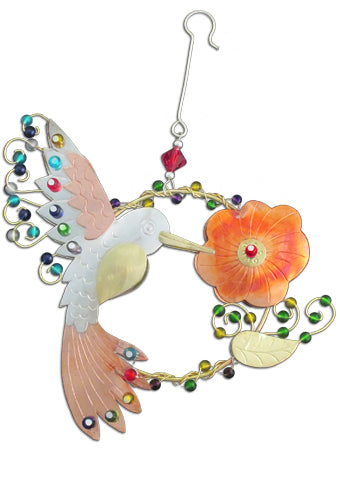 Hummingbird With Orange Flower Ornament  PI 118