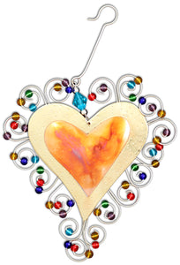 Heart Ornament Bordered By Beads 112