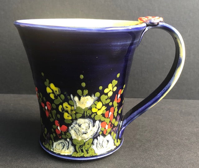 Blue Coffee Cup With Flowers Don Swanson 123