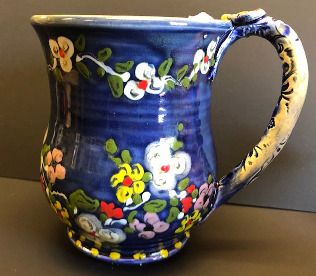 Coffee Cup Blue With White & Red Flowers Don Swanson 140