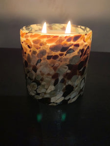 Brown, White & Clear Glass Soy Candle