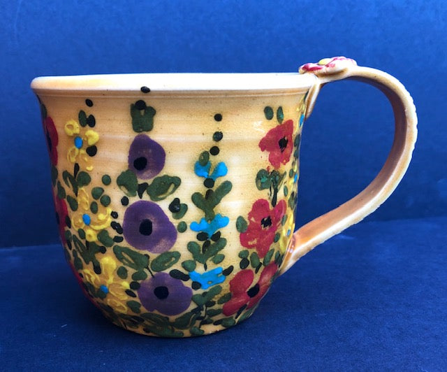 Coffee Cup Small Yellow WIth Flowers Don Swanson 133