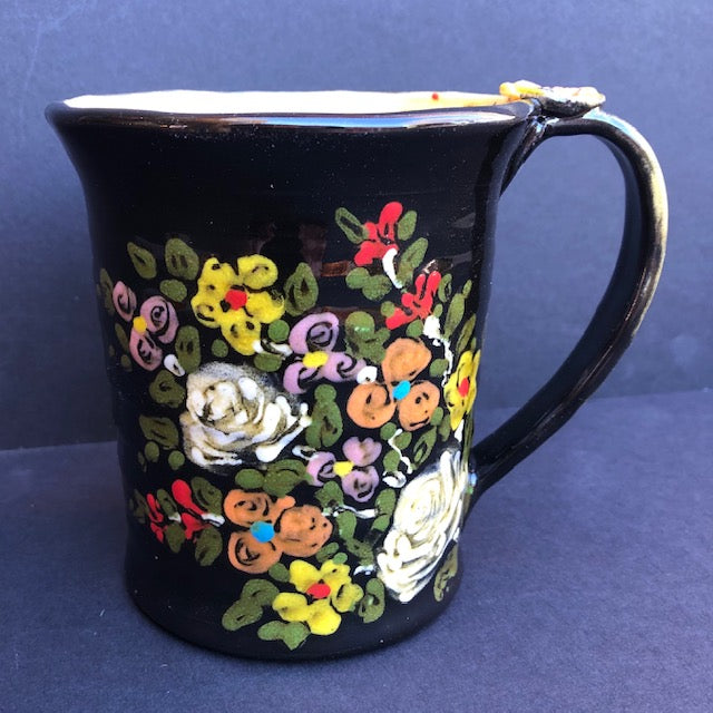 Coffee Cup Black With Flowers Don Swanson 132