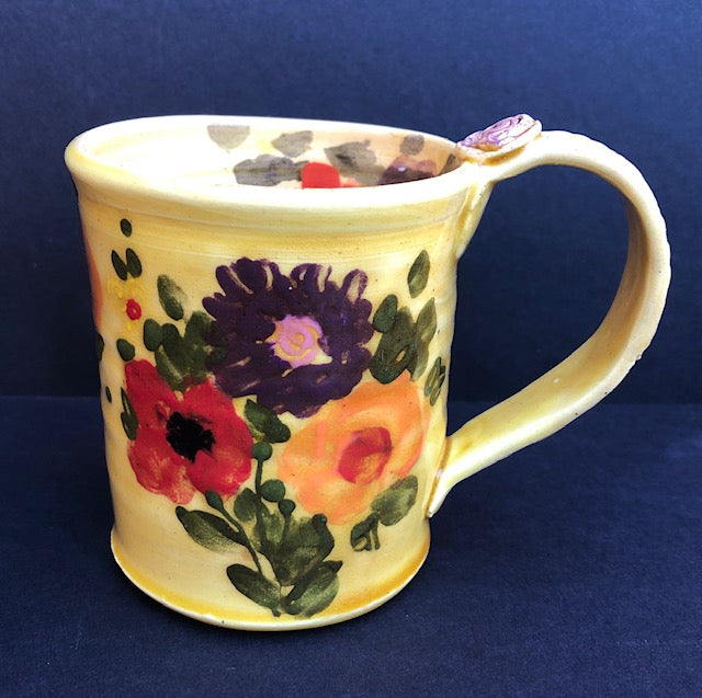 Coffee Cup Small Yellow With Flowers 134