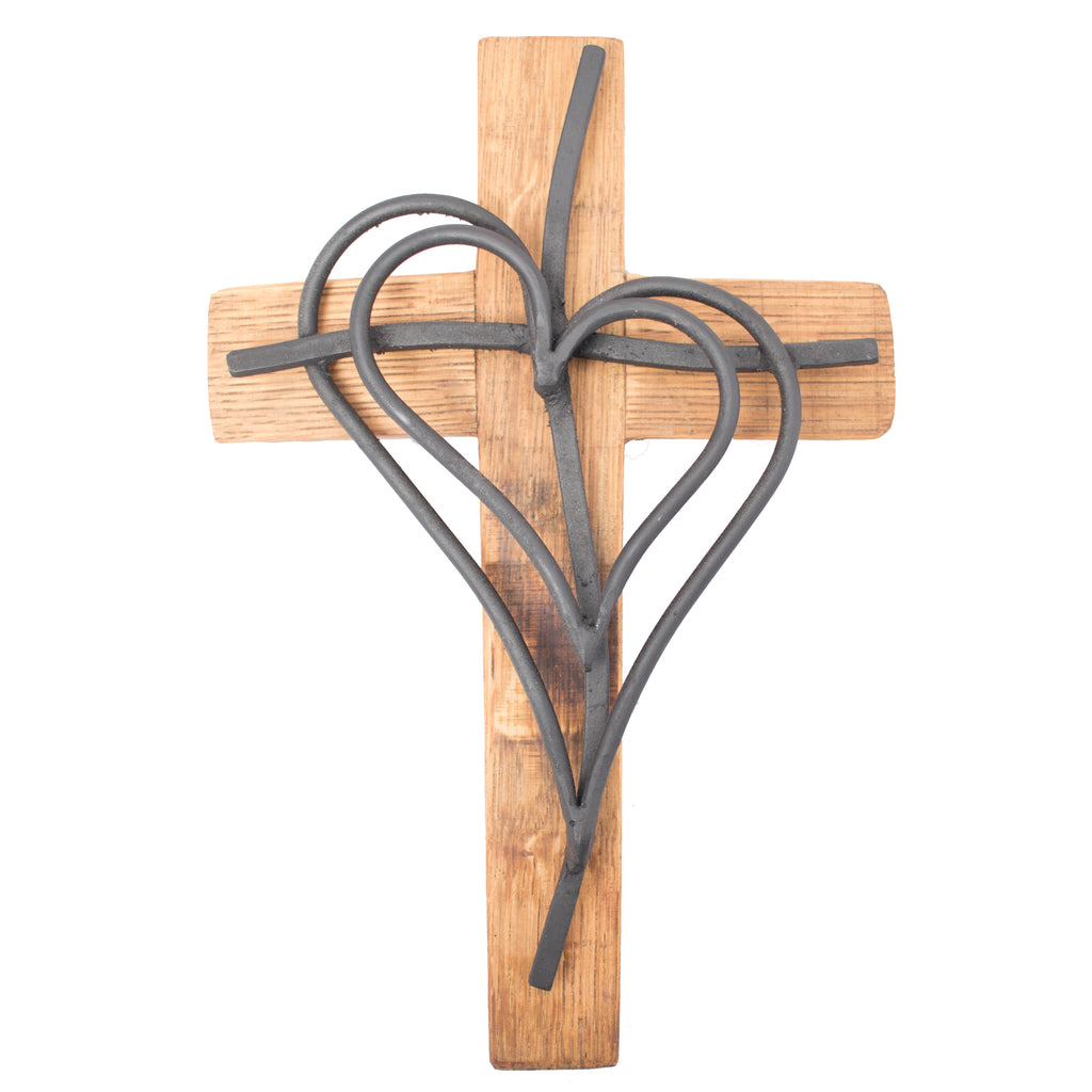 "Wine Barrel Double Iron Heart Cross  18""  BW102"