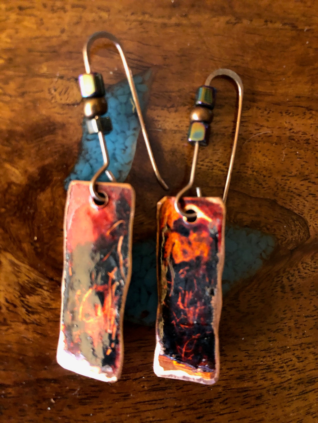 Copper Earrings Red & Black Vicki Carstens 106
