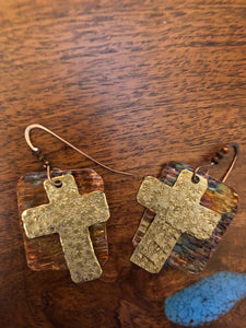 Copper Earrings With Cross Vicki Carstens 104