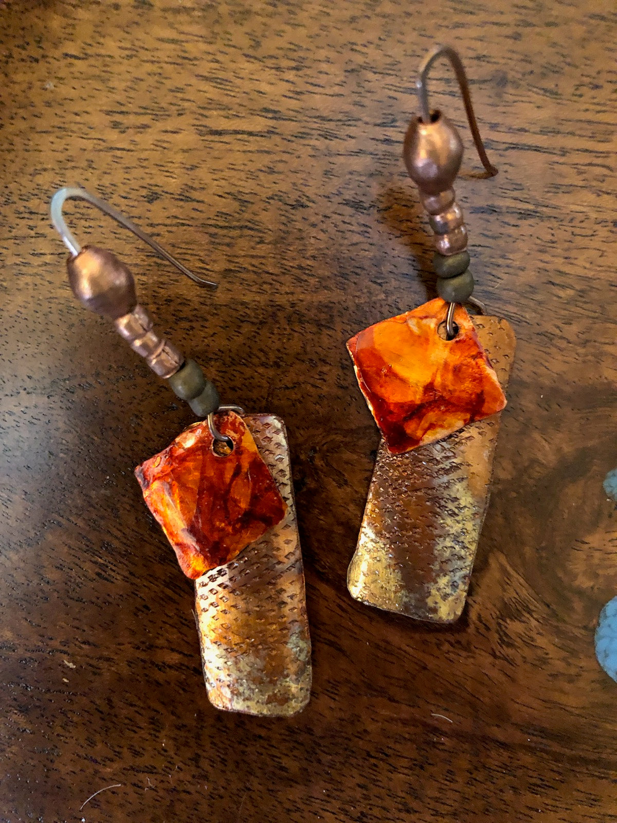 Copper Earrings With Red Discs Vicki Carstens 102