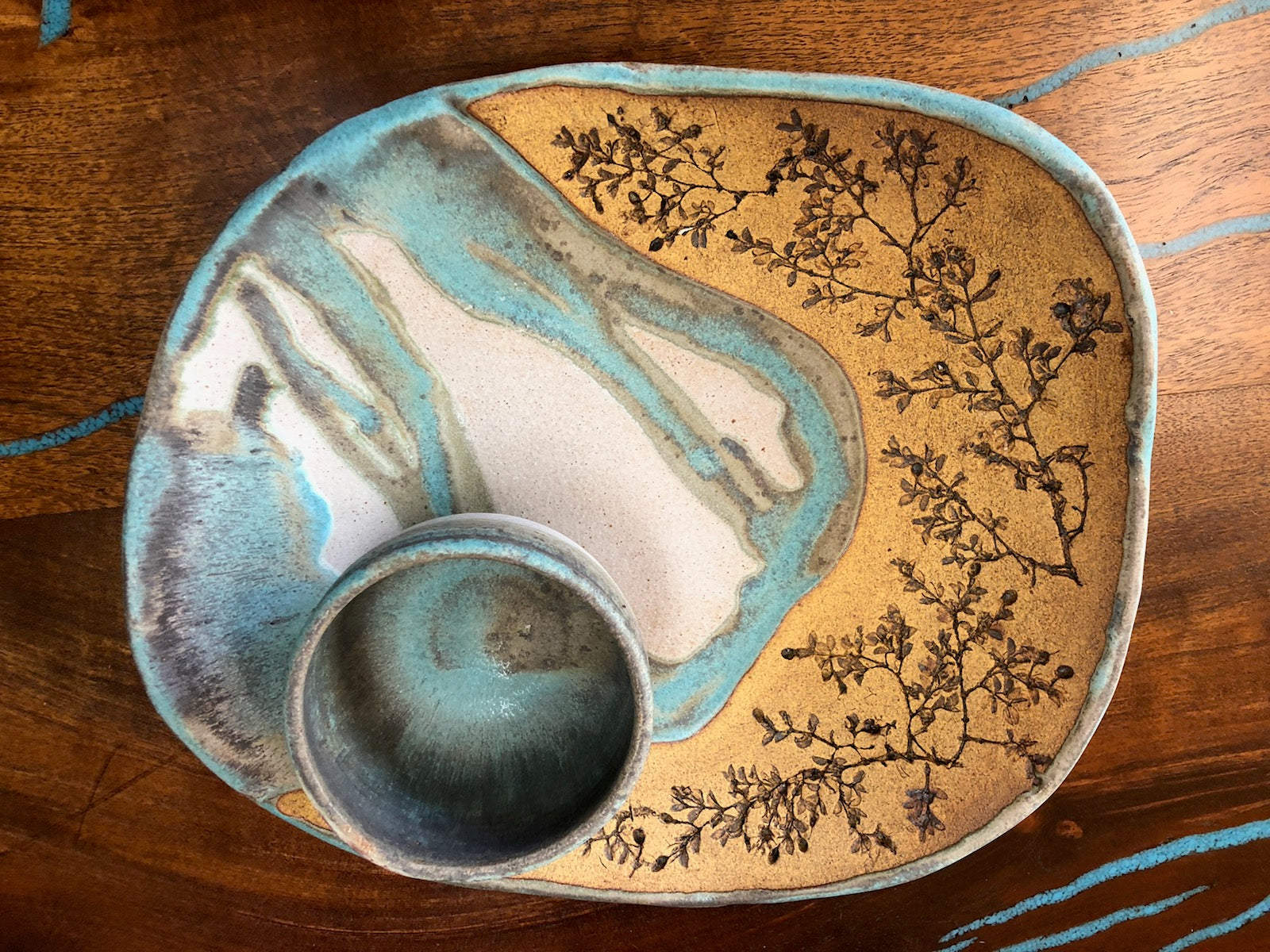 Turquoise & Tan Platter 101 By Judy Mohr