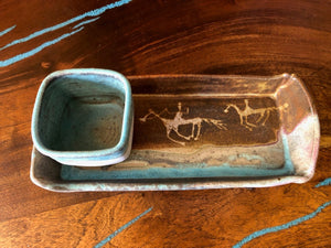 Turquoise & Tan Relish Tray 106 By Judy Mohr