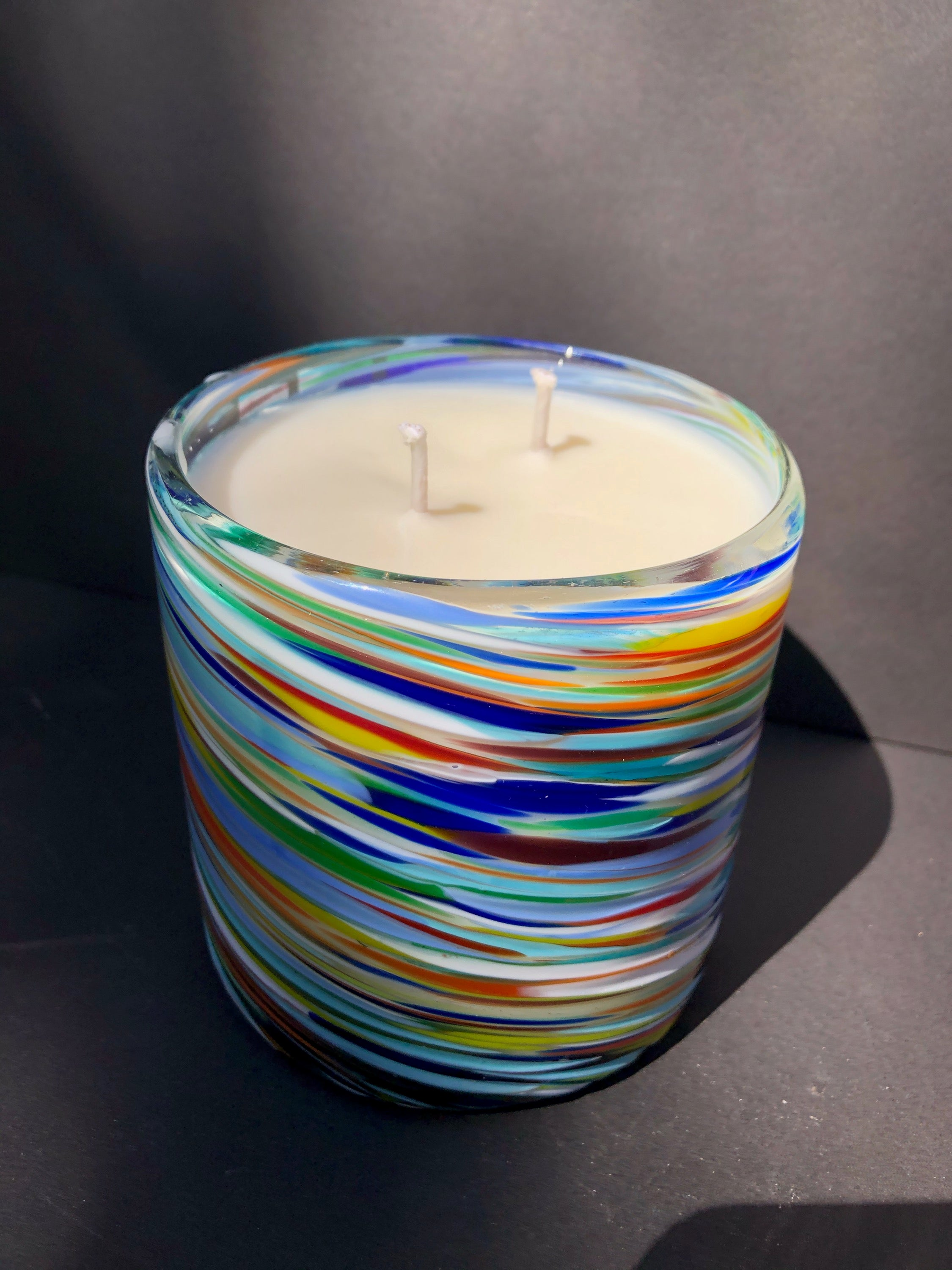 Multi Colored Glass Soy Candle
