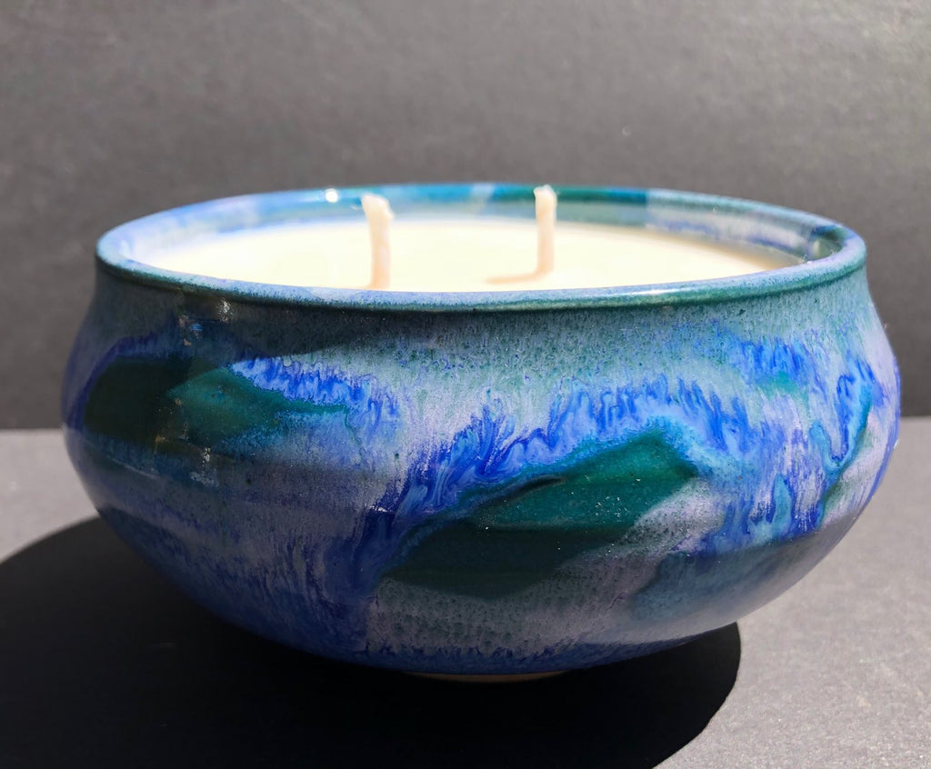 Blue Ceramic Bowl Soy Candle