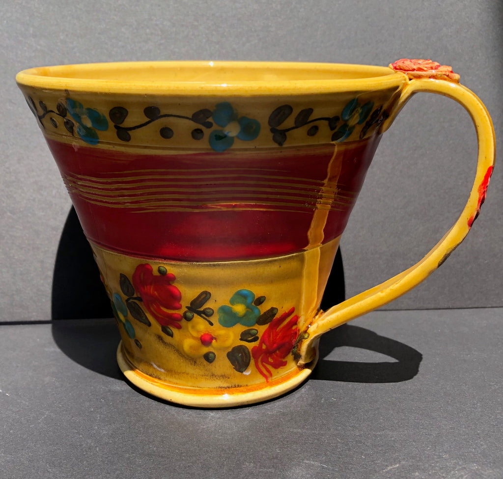 Yellow Coffee Cup With Red Flowers Don Swanson 102