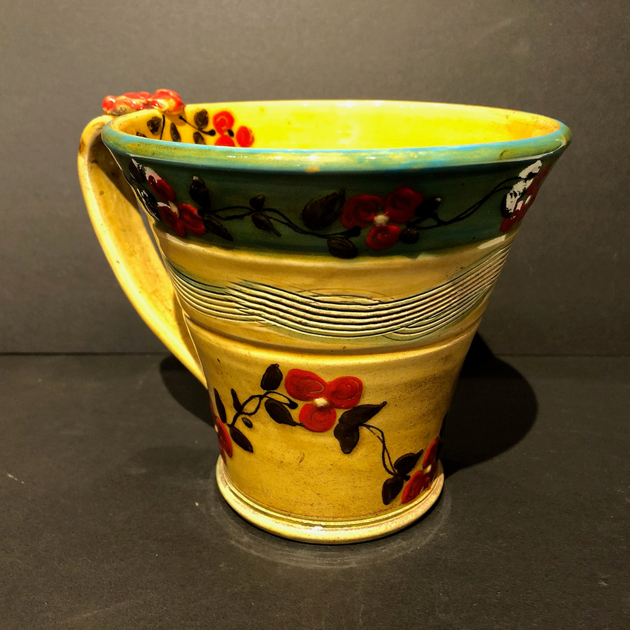 Turquoise Rim & Yellow Coffee Cup 103 Don Swanson