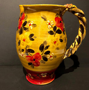 Yellow With Red Flowers Pitcher Don Swanson 107