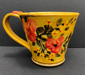 Yellow With Red Flowers Coffee Cup Don Swanson 113