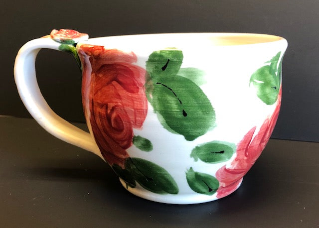 Coffee Cup White Red Flowers Don Swanson138