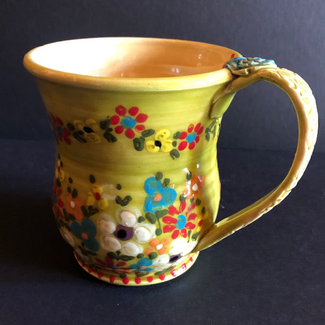 Yellow Green Coffee Cup With Multi Colored Flowers Don Swanson 129