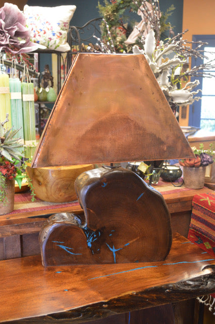 Mesquite Lamp With Turquoise Inlay & Copper Shade