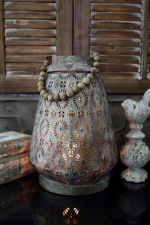 Moroccan Round Metal With Wood Rim & Beaded Handle Lantern