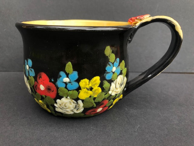 Black Coffee Cup With Flowers Don Swanson 120