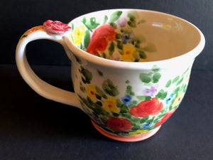 White Coffee Cup With Orange Flowers Don Swanson 128