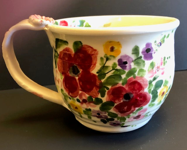 White Coffee Cup With Red Flowers Don Swanson 143
