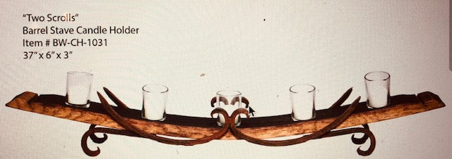 Wine Barrel Stave Candle Holder BW106