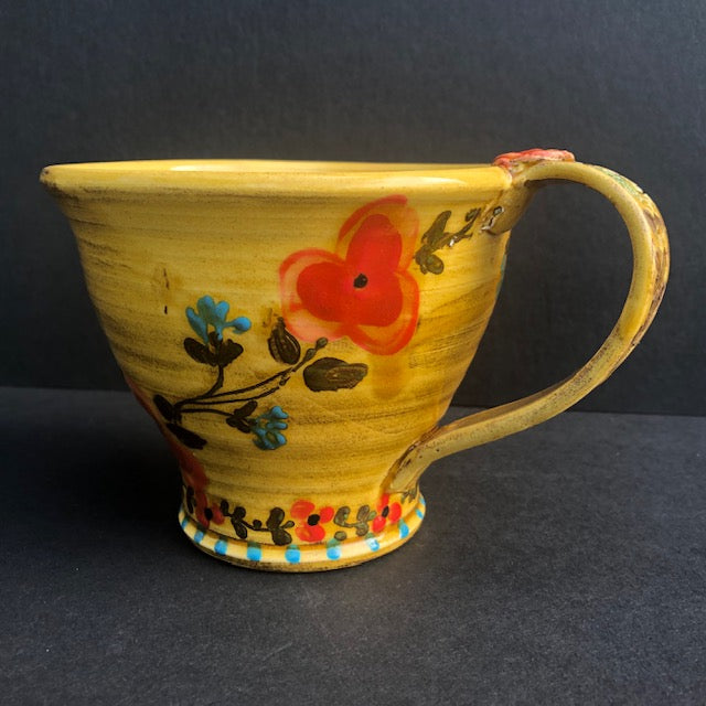 Yellow Coffee Cup WIth Red Flowers Don Swanson 124
