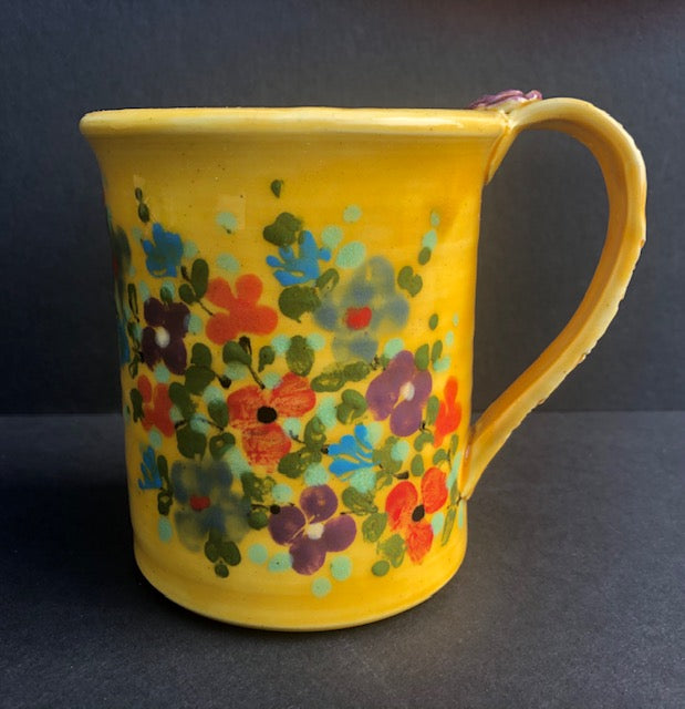Yellow Coffee Cup With Flowers Don Swanson 125