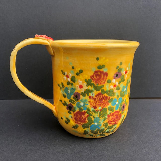 Yellow Coffee Cup With Red Roses Don Swanson 121