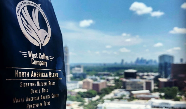 North American Grown Coffee Blend. All-American Blend - West Coffee Company. Roasted in Texas. Coffee grown in North America. Best Coffee in Houston. Best American Coffee Roaster. Christmas Blend Coffee.