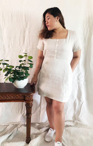 Plus Size Square Neck Mini A Line Dress in Nude