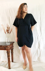 Load image into Gallery viewer, Plus Size Wrap Mini Dress in Black