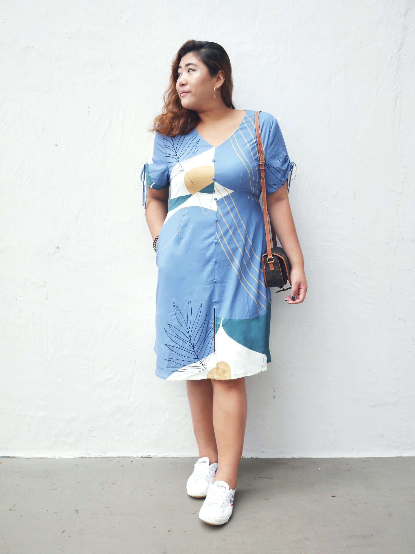 Plus Size Empire Cut Midi Dress in Blue