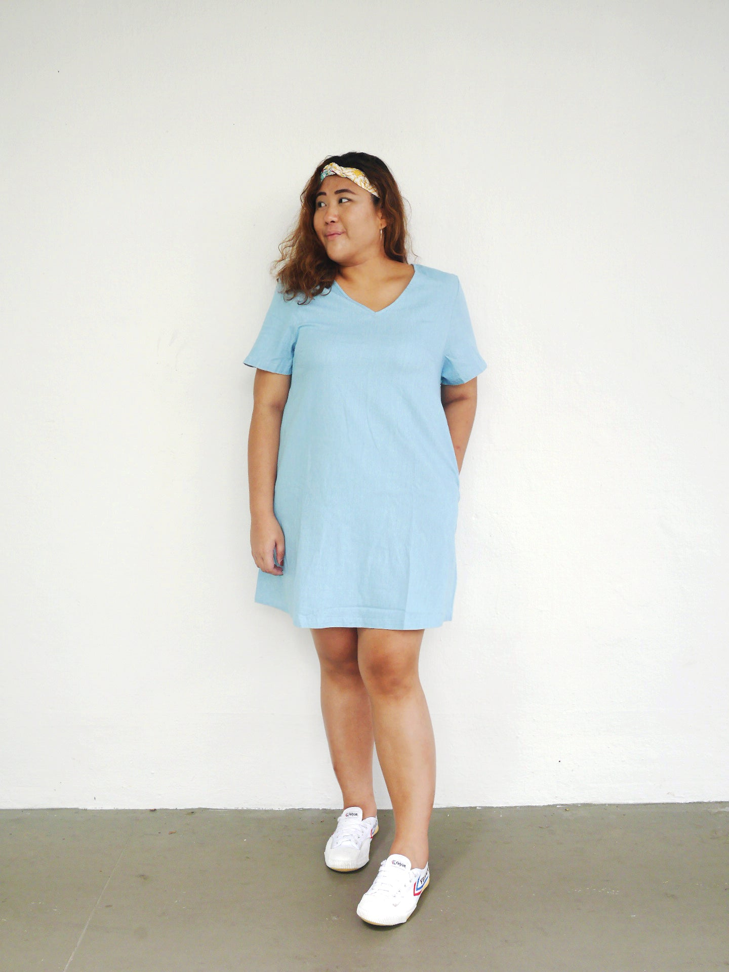 Plus Size Denim Shift Dress