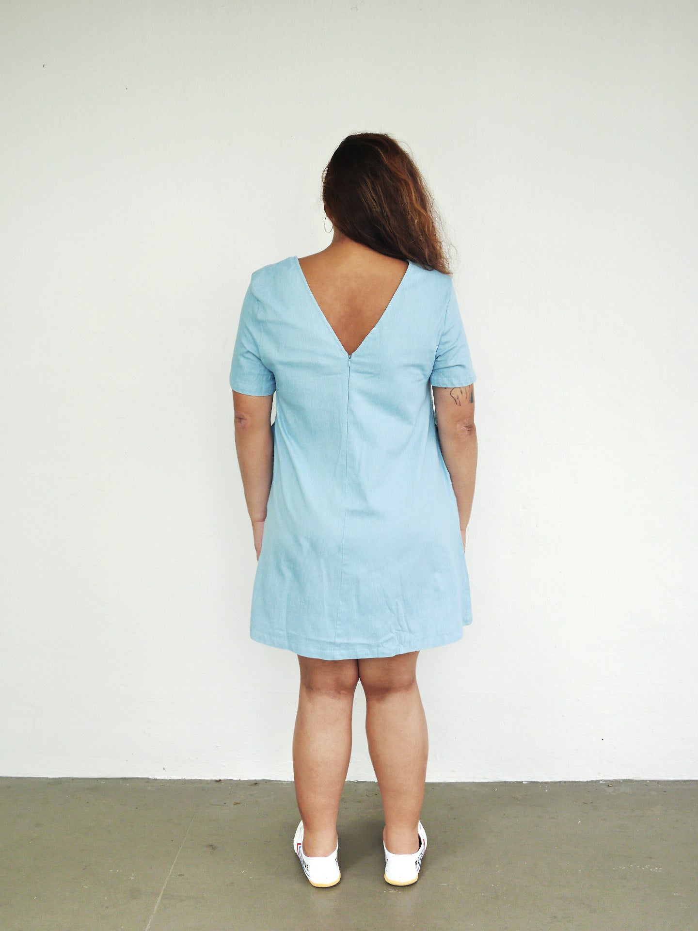 Plus Size Light Denim Shift Dress