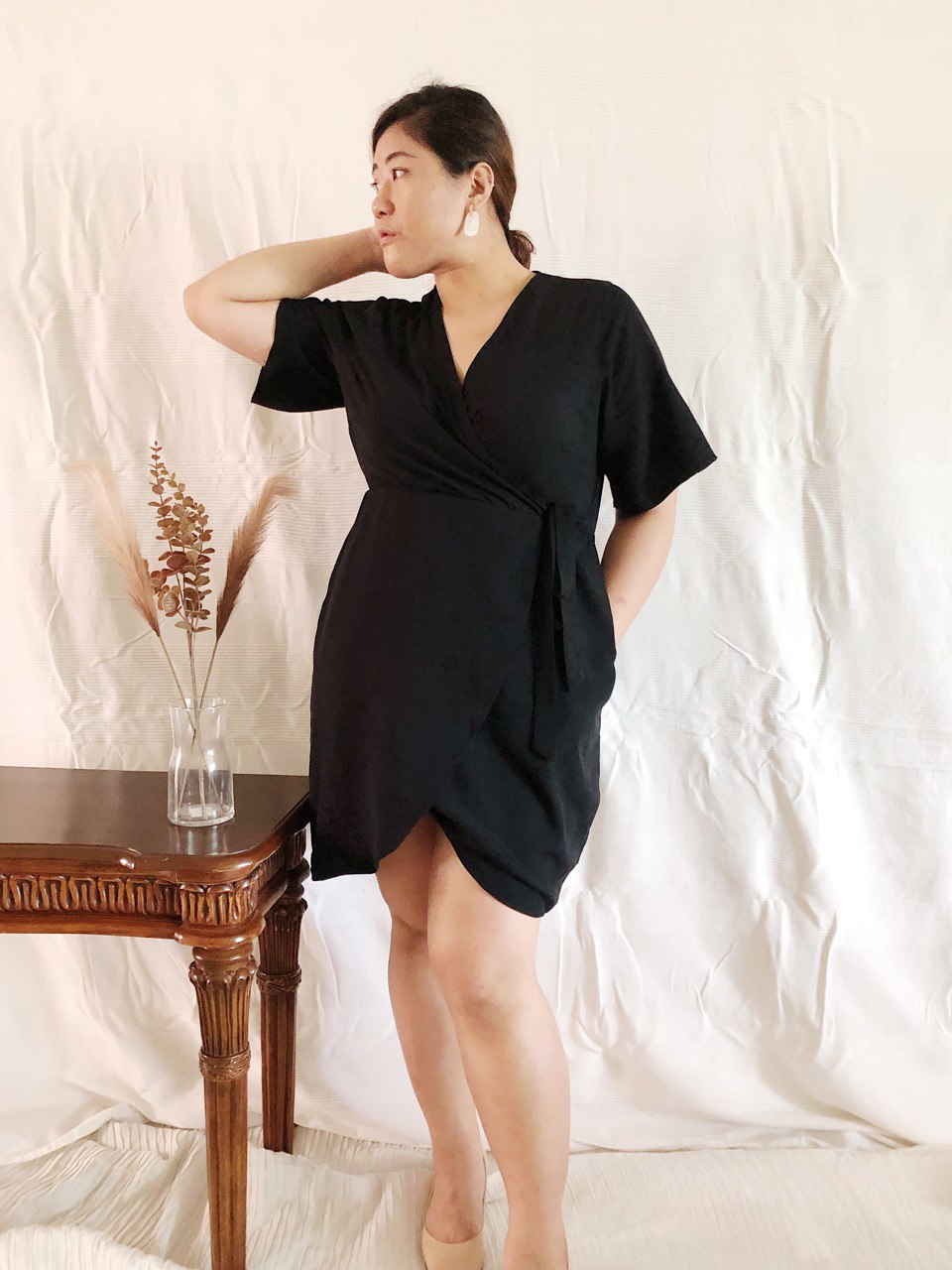 Plus Size Wrap Mini Dress