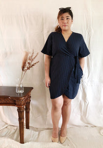 Plus Size Wrap Mini Dress in Blue